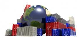 World trade concept. Globe surrounded by shipping containers.